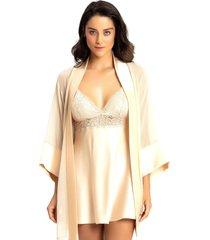 robe recco c/ camisola crepe charmeuse dourado