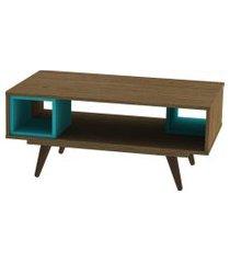 mesa centro retrô 45 rustik  olivar marrom/azul