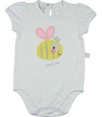 body ano zero bebê cotton abelhinha queen bee branco