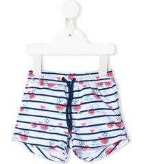sunuva watermelon whale print swim shorts - blue