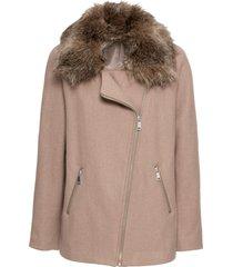 giacca con collo in eco pelliccia (beige) - bodyflirt