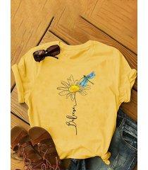 camicetta a maniche corte con stampa di libellule a fiori plus