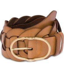 miu miu braided buckle belt - brown