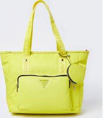 river island womens yellow ri nylon shopper bag with mini pouch
