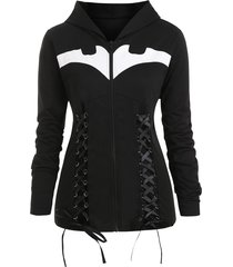 lace-up hooded bat print plus size halloween jacket
