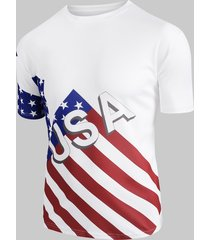 american flag pattern casual t-shirt