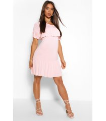 frill drop hem smock dress, nude