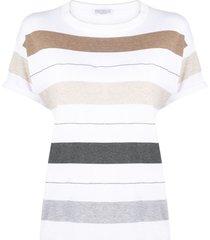 brunello cucinelli horizontal-stripe t-shirt - white