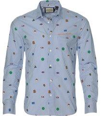 scotch & soda overhemd - slim fit - blauw