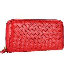 fontanelli designer wallets, women's red italian woven leather concertina zip wallet
