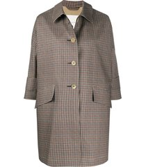 mackintosh checkered buttoned a-line coat - grey