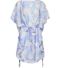aloha la palma kaftan jurk knielengte blauw seafolly