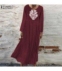 zanzea de mujeres con cuello en v casual impresión floral larga camisa de vestir de gran tamaño kaftan vestido a media pierna -rojo