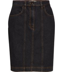 slfjoy hw dark grey denim skirt w kort kjol blå selected femme