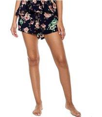 shorts con elástico en cintura y estampado floral color blue