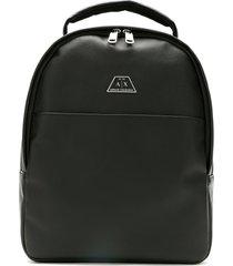 armani exchange logo-patch zip backpack - black