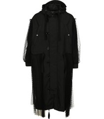 red valentino tulle hooded parka