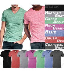 men t shirt v neck short sleeve basic soft tee slim fit casual basic tops s-2xl