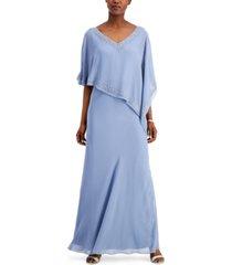 j kara asymmetrical chiffon gown