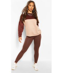 colour block sweater en leggings set, chocolade