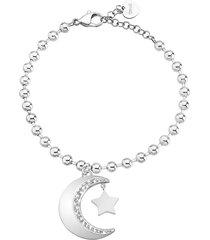 bracciale charms luna e stella in acciaio rodiato e cristalli per donna