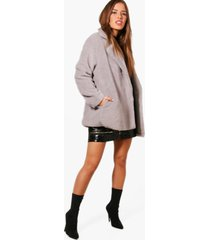 petite double breasted teddy coat, grey