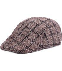 uomo coppola invernale calda a rete in cotone di stile retro britannico berretto da newsboy