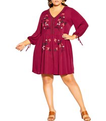 city chic embroidered long sleeve dress, size large in rhubarb at nordstrom