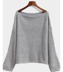 suéter de punto superior de manga larga gris redondo cuello para mujer