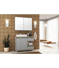 conjunto banheiro 100 cm barrique argento mdf lilies móveis - tricae