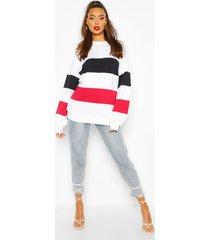 colour block stripe oversized sweatshirt, white