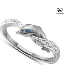 round cut blue sapphire dolphin engagement ring 14k white gold plated 925 silver