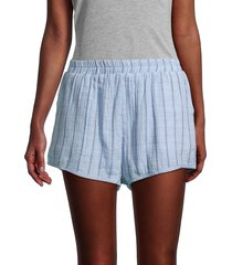 allison new york women's striped cotton shorts - blue - size s