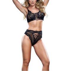 women's lace bralette & high waist panty set