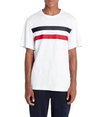 men's moncler mesh stripe t-shirt, size xx-large - white