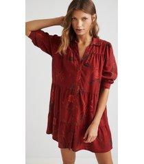 short shirt dress - red - l