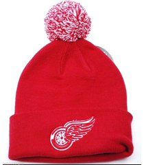 detroit red wings zephyr colorado collection hockey knit pom pom hat/beanie