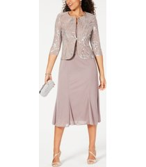alex evenings petite sequined midi dress and jacket