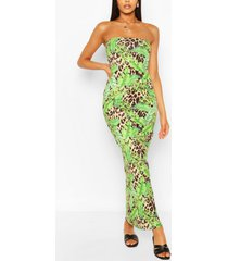 leopard tropical bandeau maxi dress, brown
