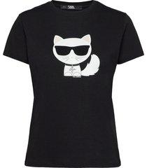 ikonik choupette t-shirt t-shirts & tops short-sleeved svart karl lagerfeld