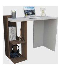 mesa para escritório sense c/ 2 nichos nogueira e branco appunto