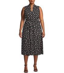anne klein plus size ivy-print midi dress