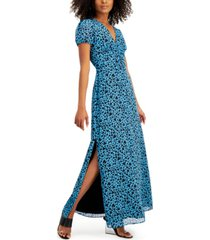 bar iii heart-print ruched-waist dress, created for macy's