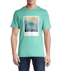 boss hugo boss men's summer graphic t-shirt - green - size m