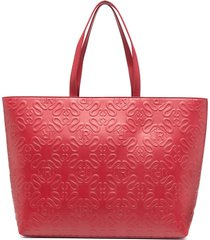john richmond all-over logo-embossed tote bag - red
