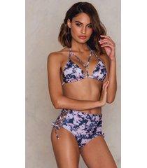 na-kd swimwear wide lacing bikini bottom - pink,purple,multicolor