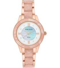 anne klein women's considered solar-powered rose gold-tone & pink resin bracelet watch 34mm