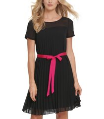 dkny pleated belted dress