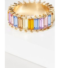 lane bryant women's baguette faceted stone ring - rainbow 11 gold tone