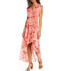 women's eliza j surplice high/low chiffon maxi dress, size 4 - pink